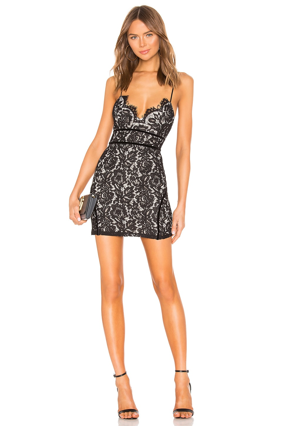 superdown Aria Lace Mini Dress in Black