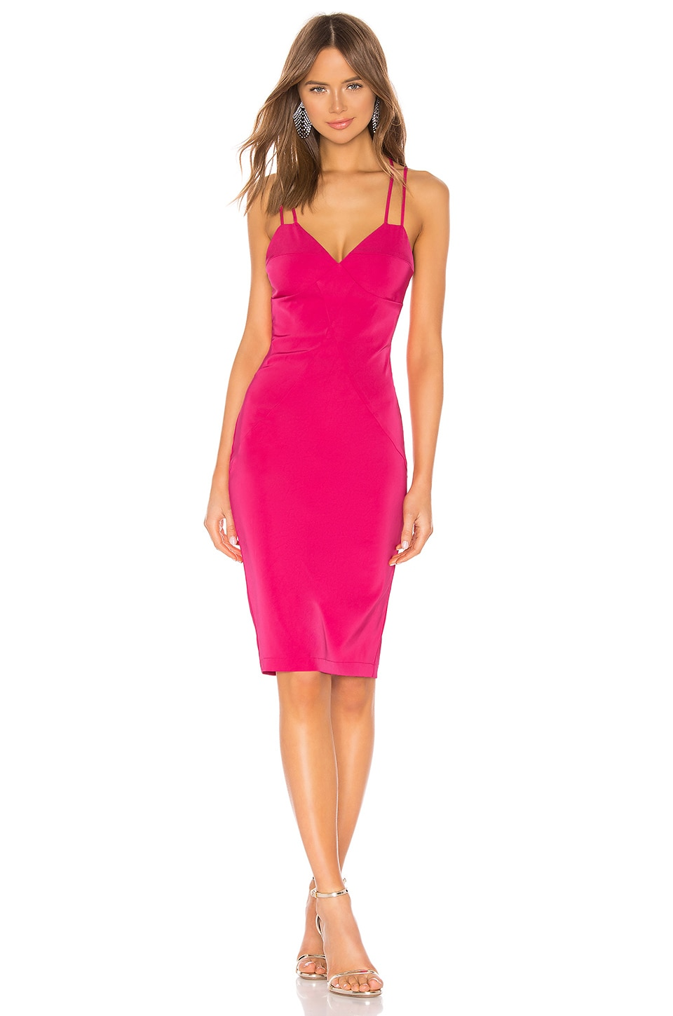 by the way. Mandi Crossback Midi Dress in Hot Pink