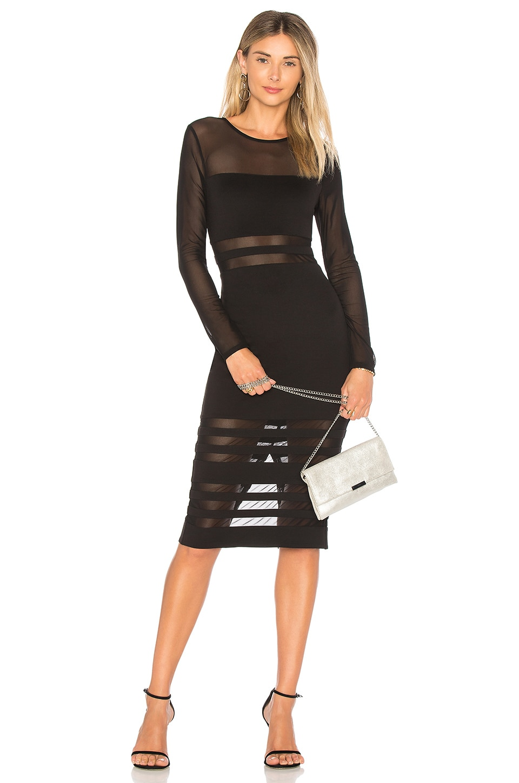 superdown Magdalena Mesh Midi Dress in Black