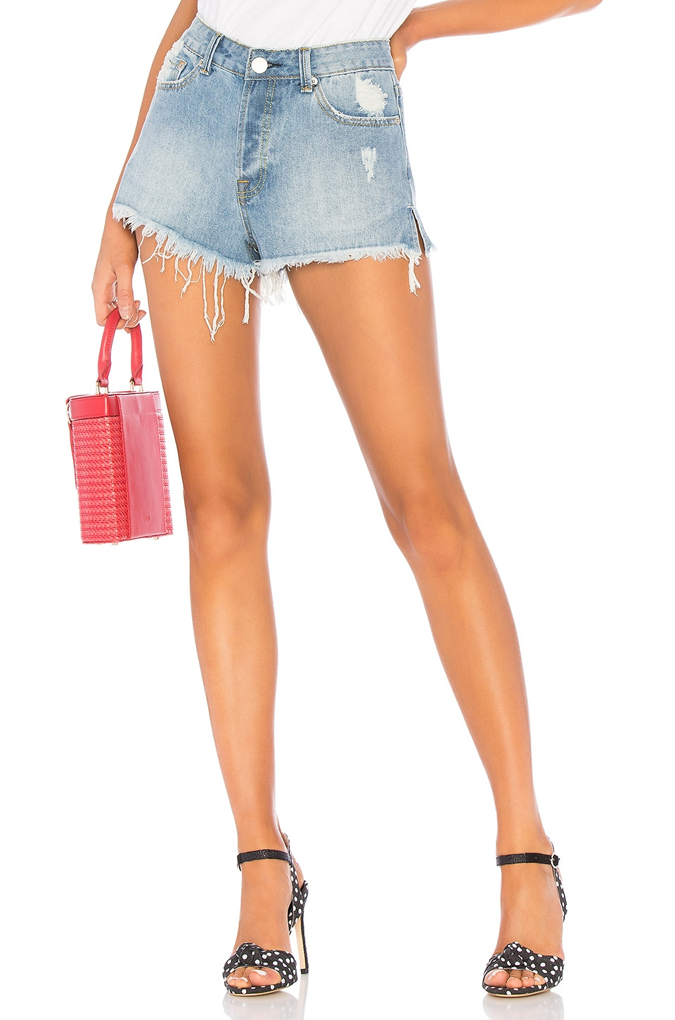 by the way. Mindy Denim Shorts in Light Blue Wash