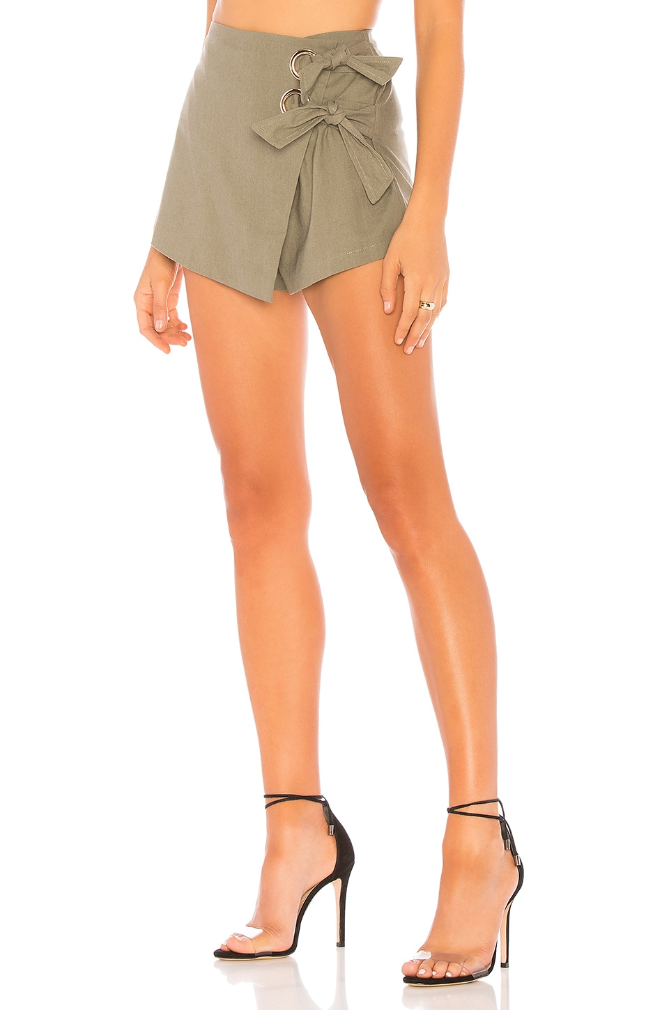 superdown Alaya Grommet Wrap Skort in Olive Green