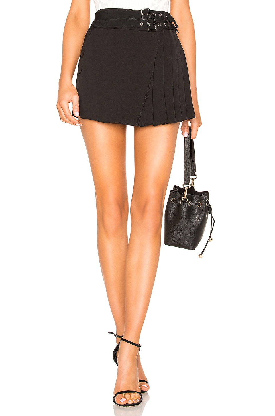 by the way. Xiomara Buckle Pleated Skort in Black