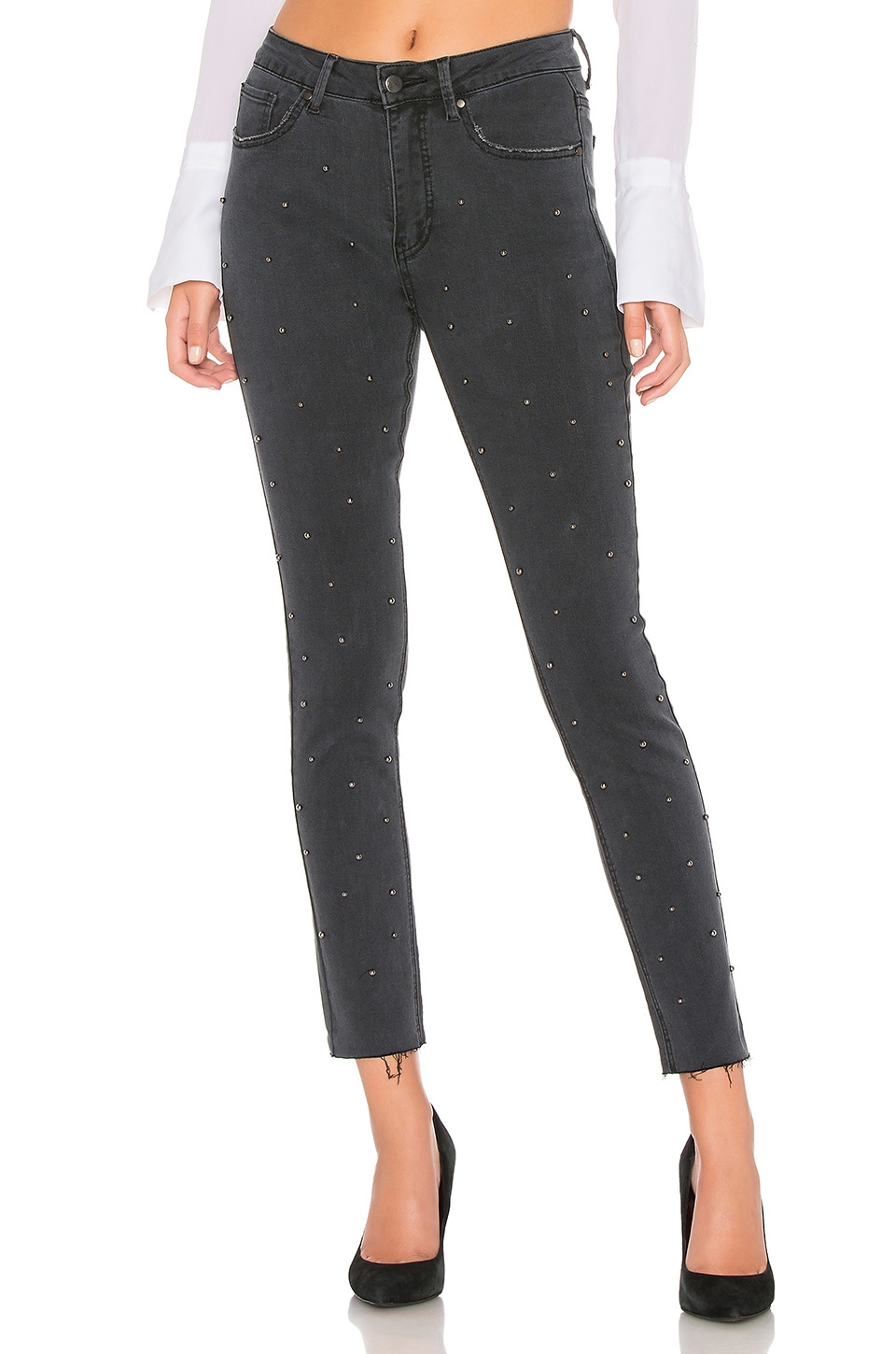 by the way. Kat Embellished Jeans in Gray Stone Wash