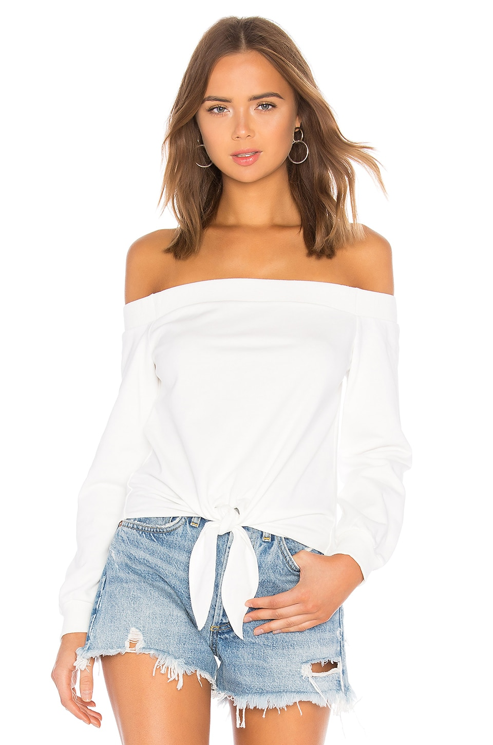 superdown Ariel Tie Front Sweatshirt in White