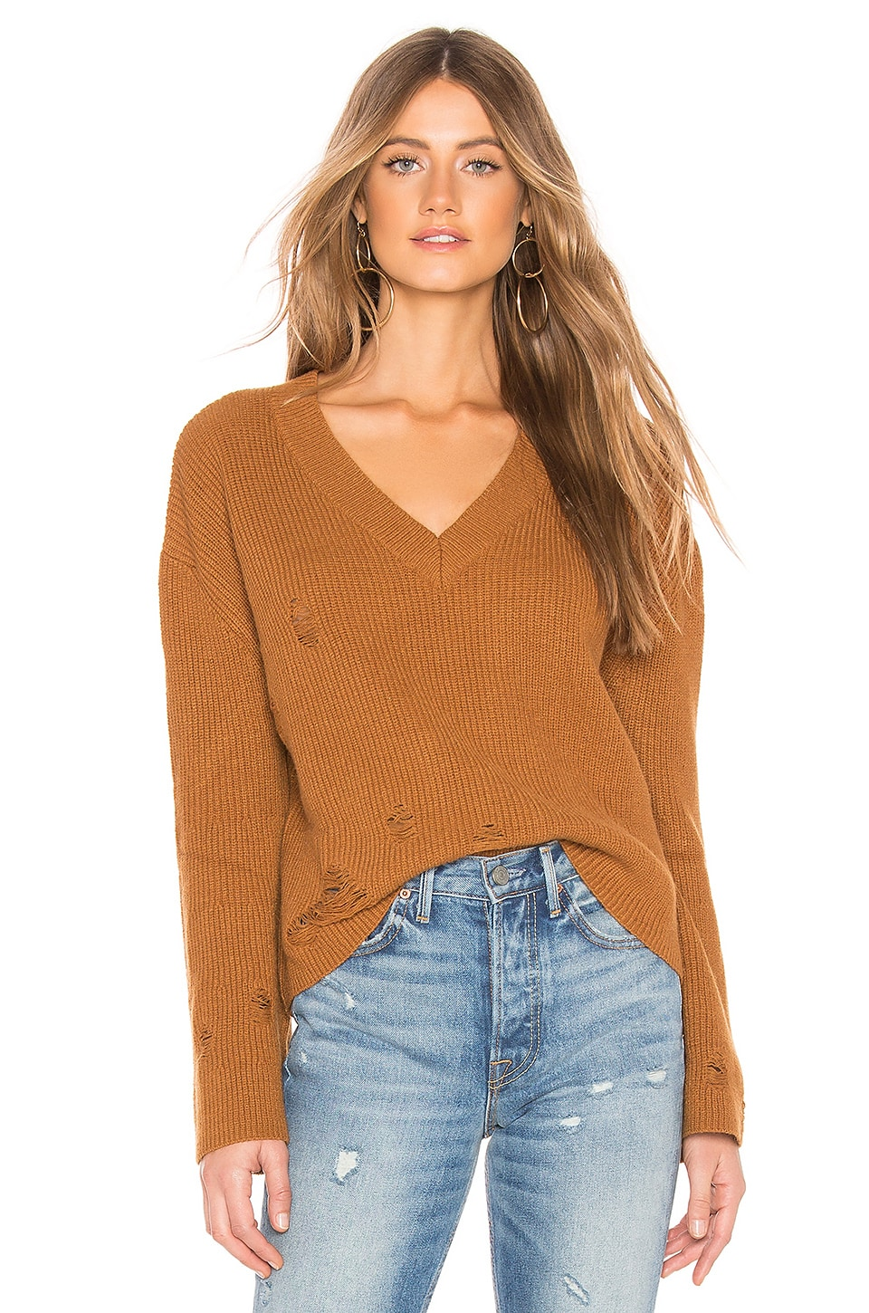 Mira Distressed V Neck Sweater