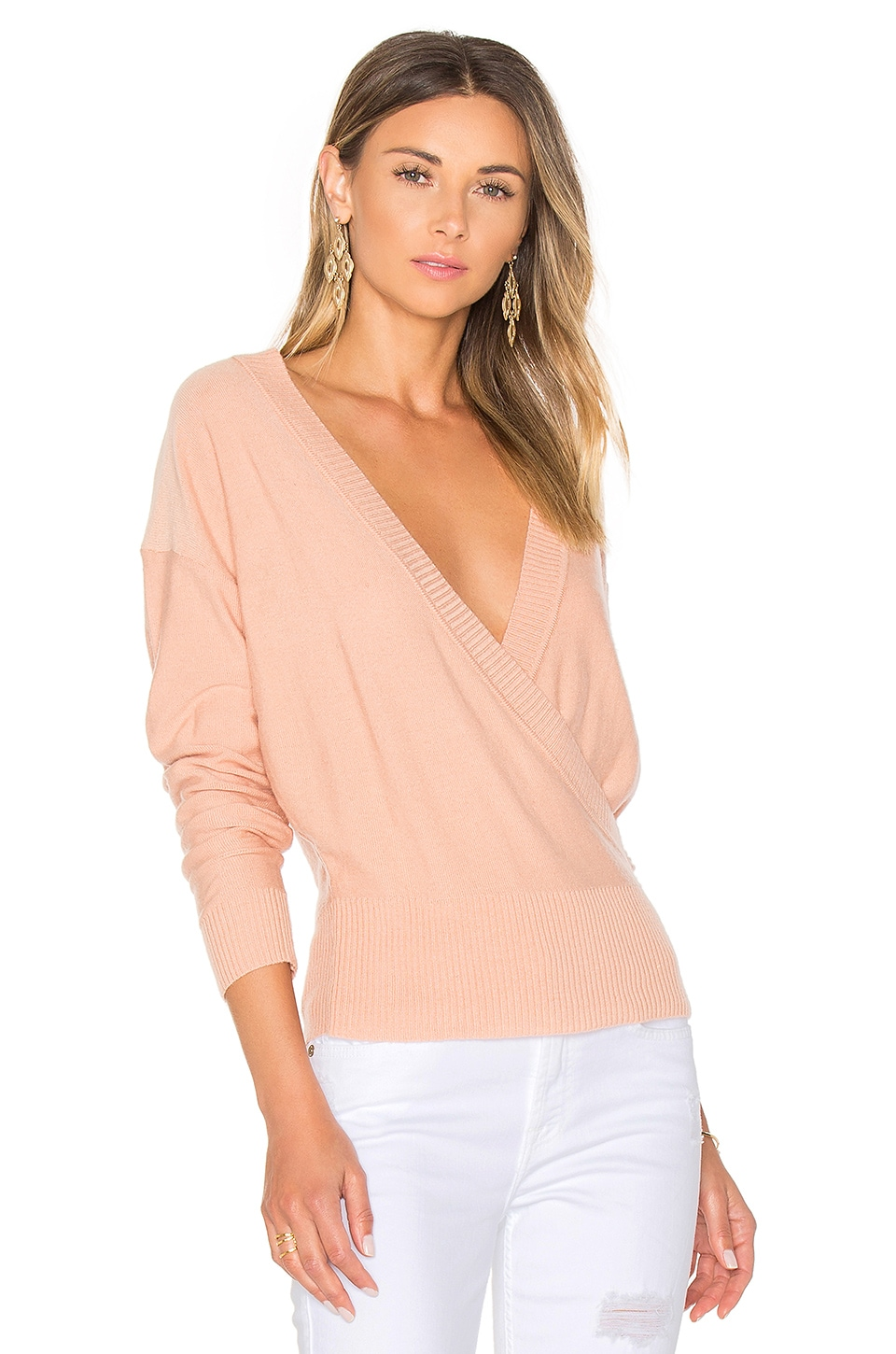 by the way. Danna Surplice Sweater in Blush