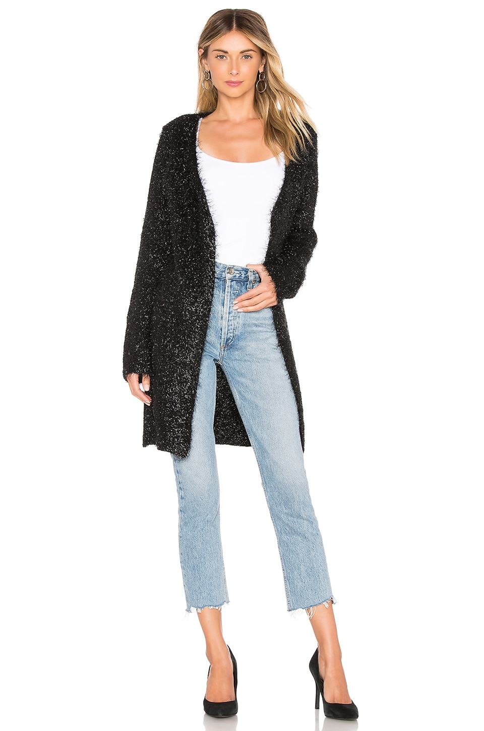by the way. Mary Metallic Cardigan in Black