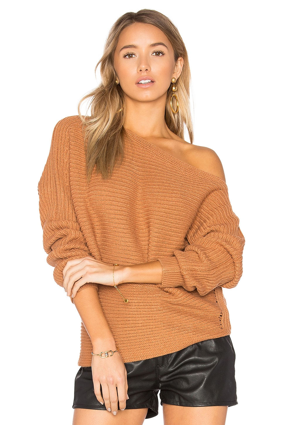 by the way. Kylie Off Shoulder Sweater in Camel