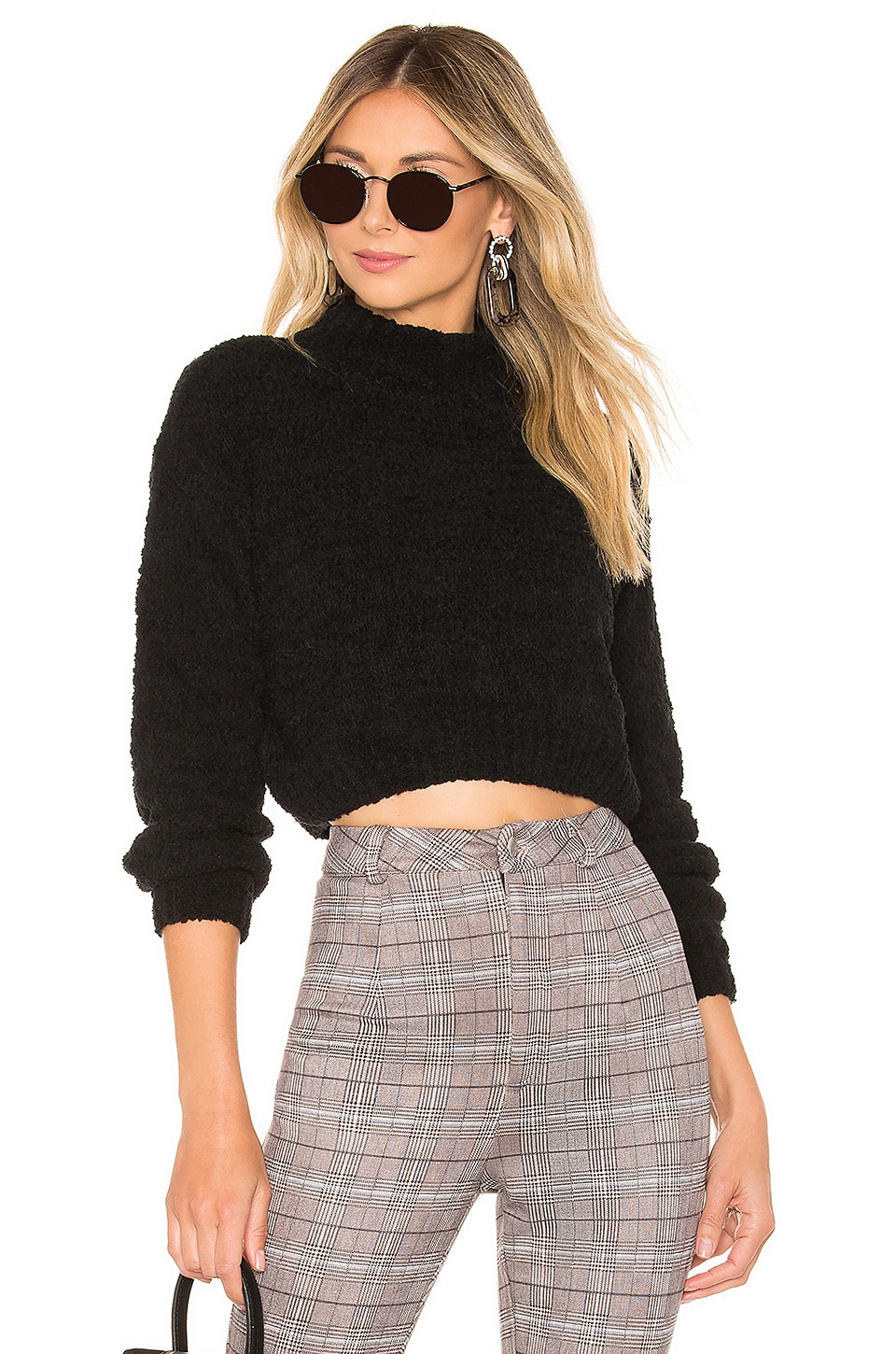 superdown Gia Long Sleeve Sweater in Black