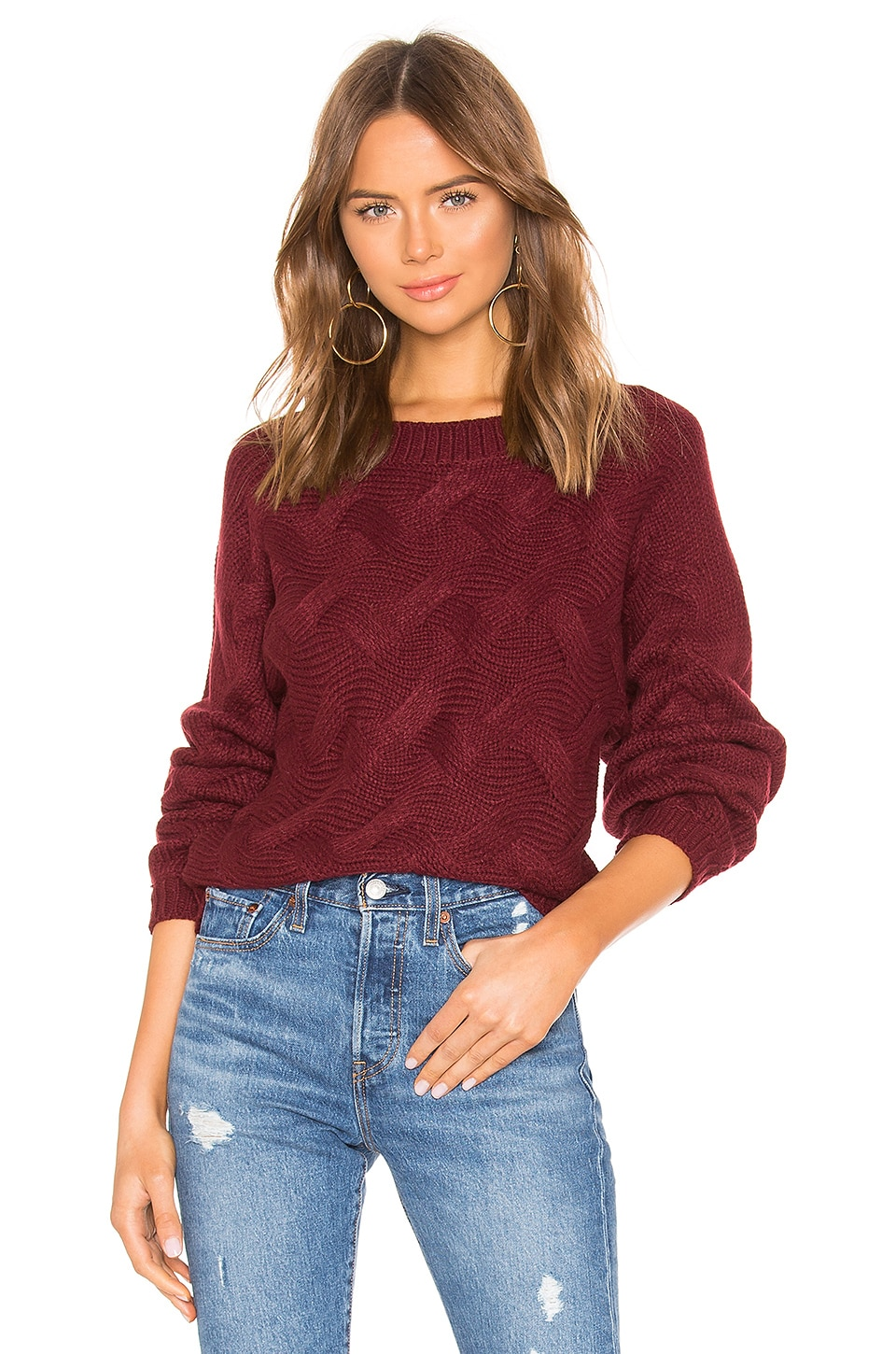 by the way. Raquel Woven Sweater in Wine Red