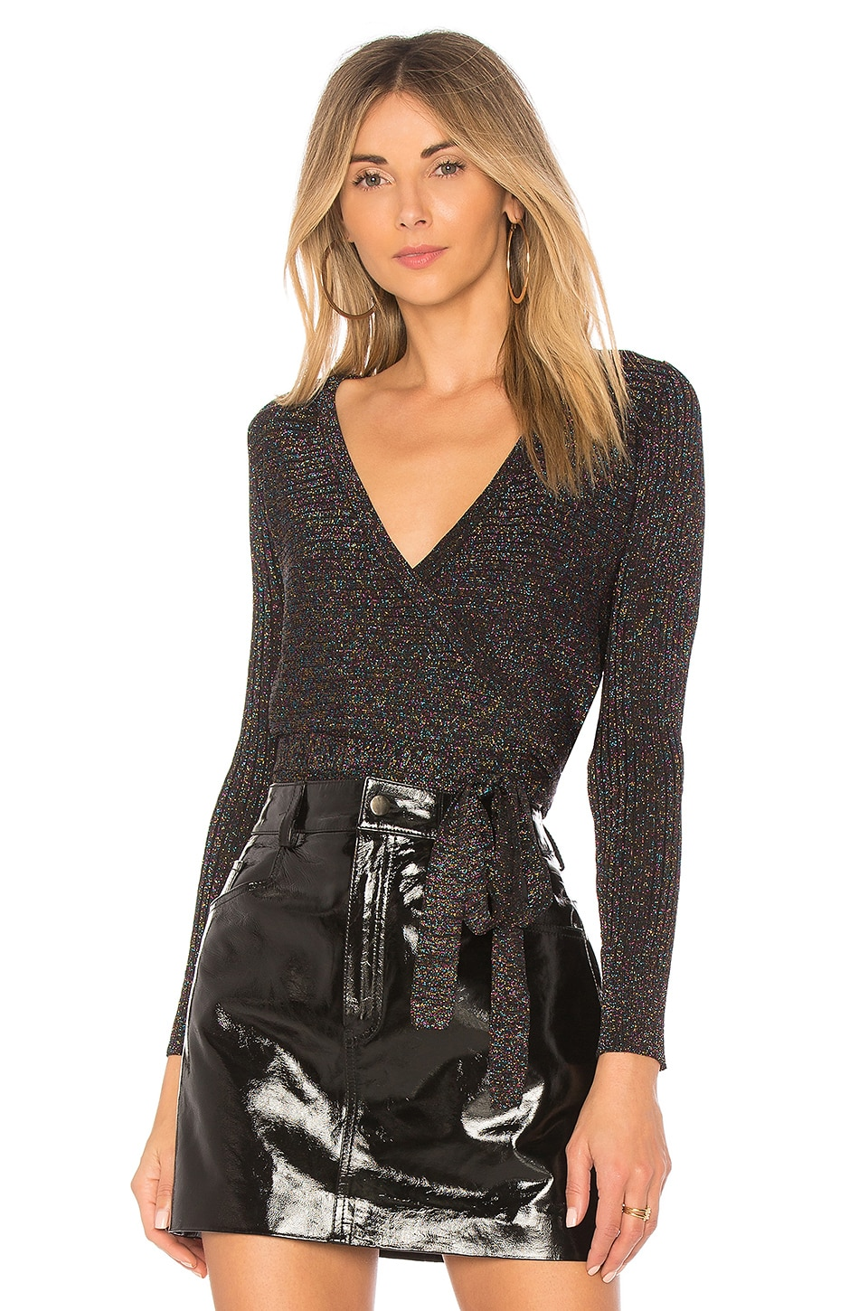 by the way. Mary Lurex Wrap Sweater in Black Multi