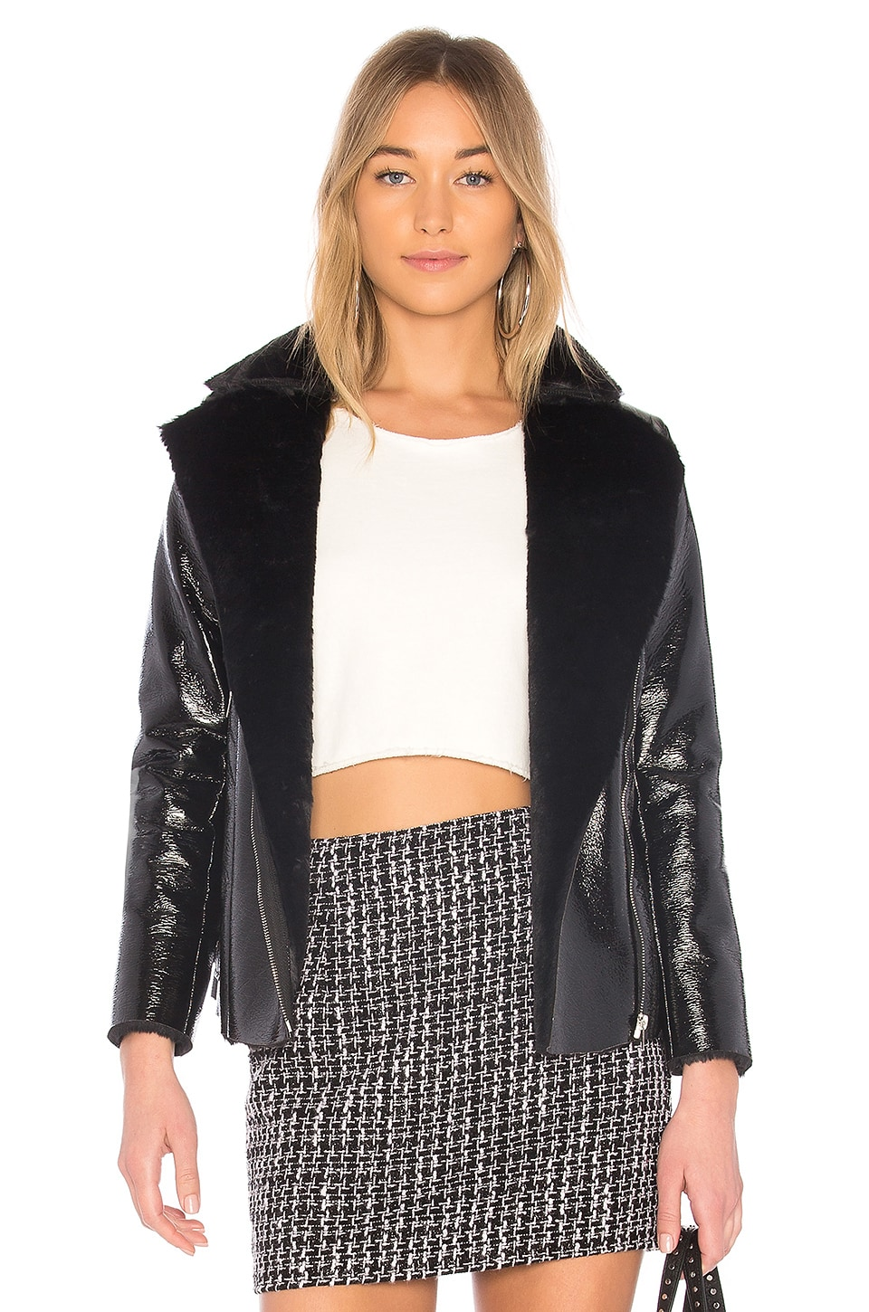 Zora Faux Fur Moto Jacket by by the way.