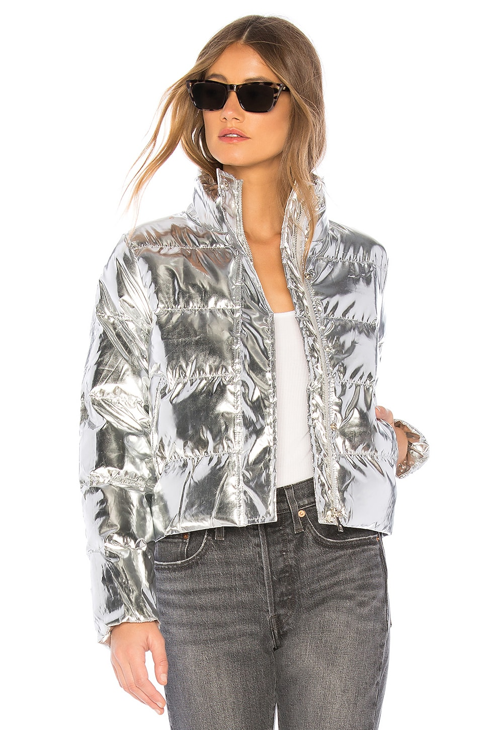 superdown Stella Metallic Puffer Jacket in Silver