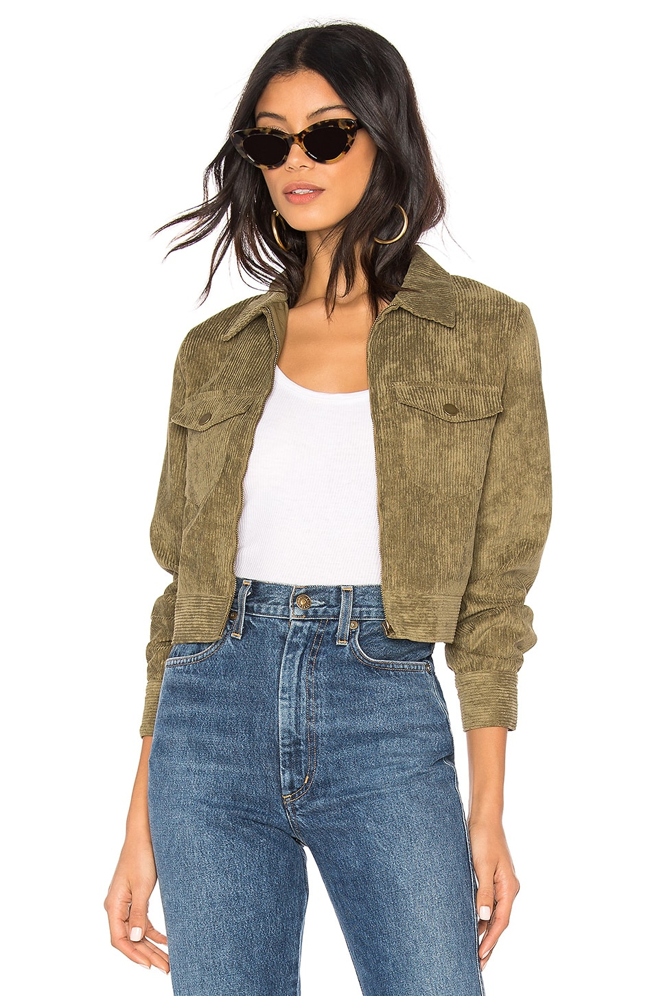 by the way. Hannah Corduroy Jacket in Olive Green