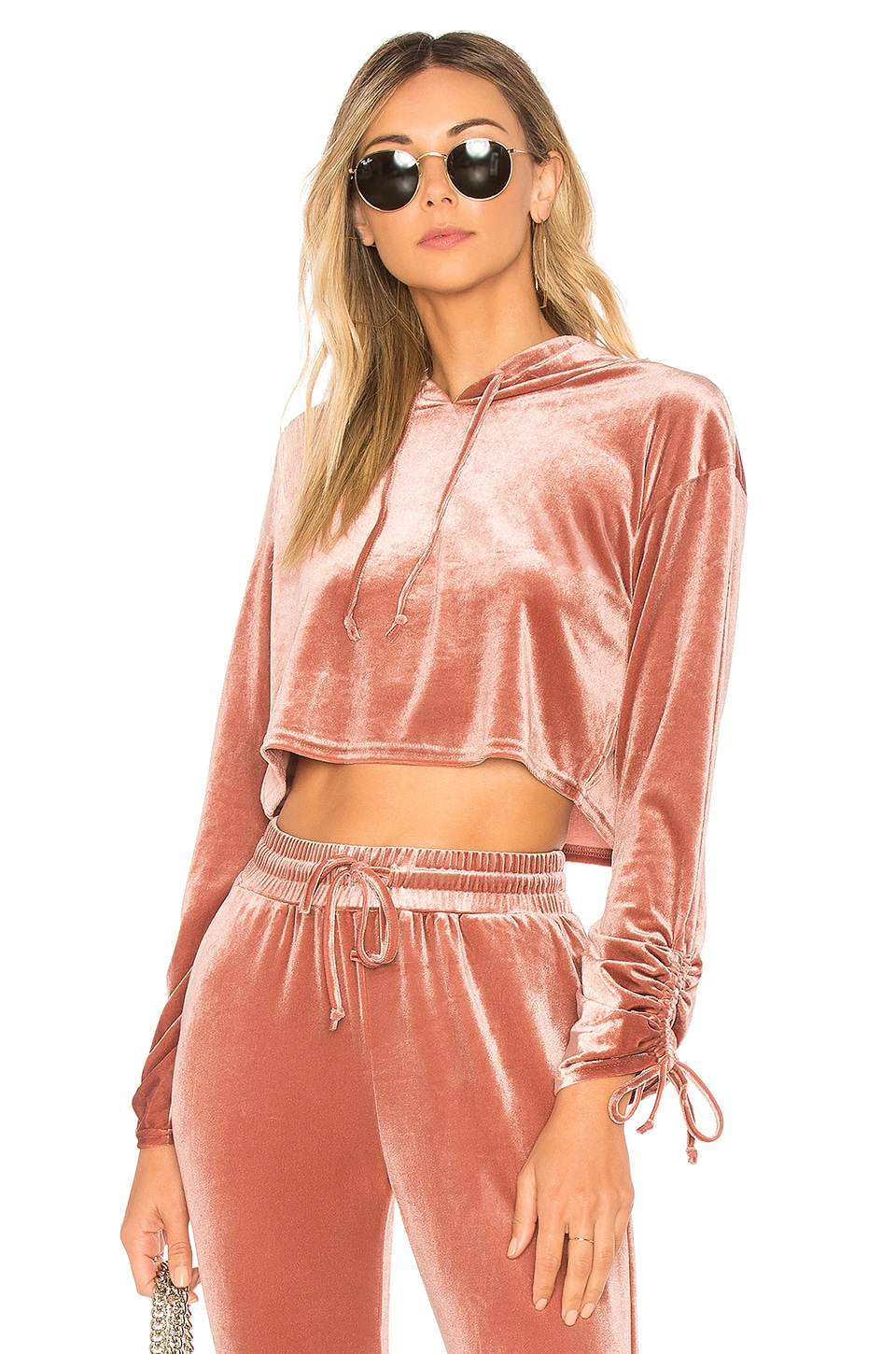 by the way. Behati Cropped Velour Hoodie in Blush