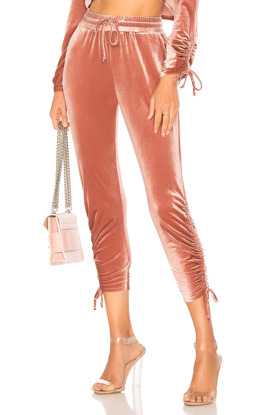 by the way. Behati Ruched Velour Jogger in Blush