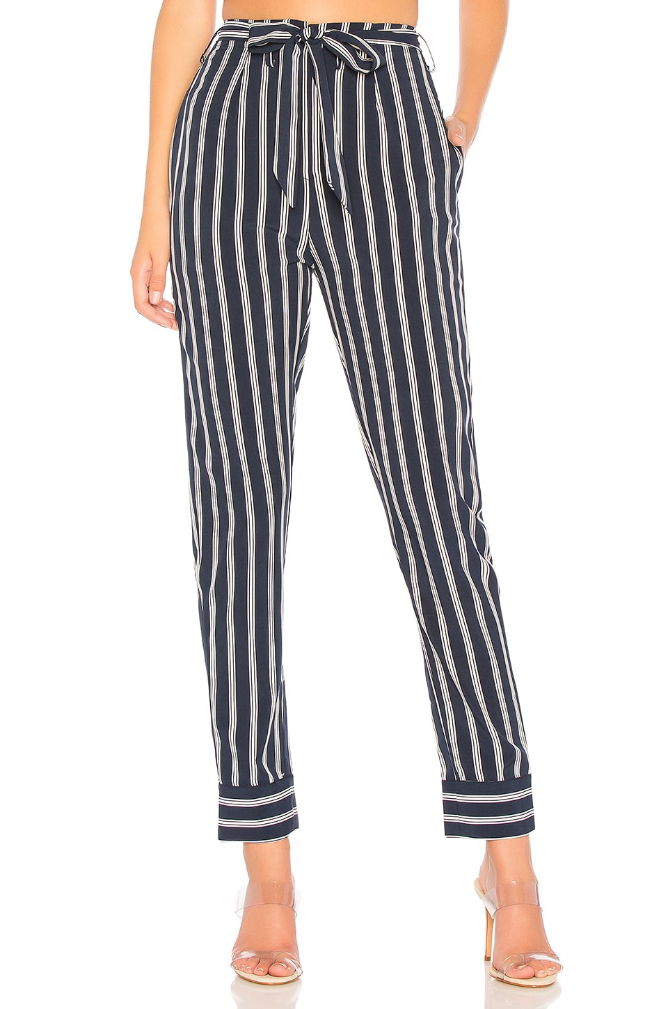 by the way. Nelly Pinstripe Belted Pants in Navy & White