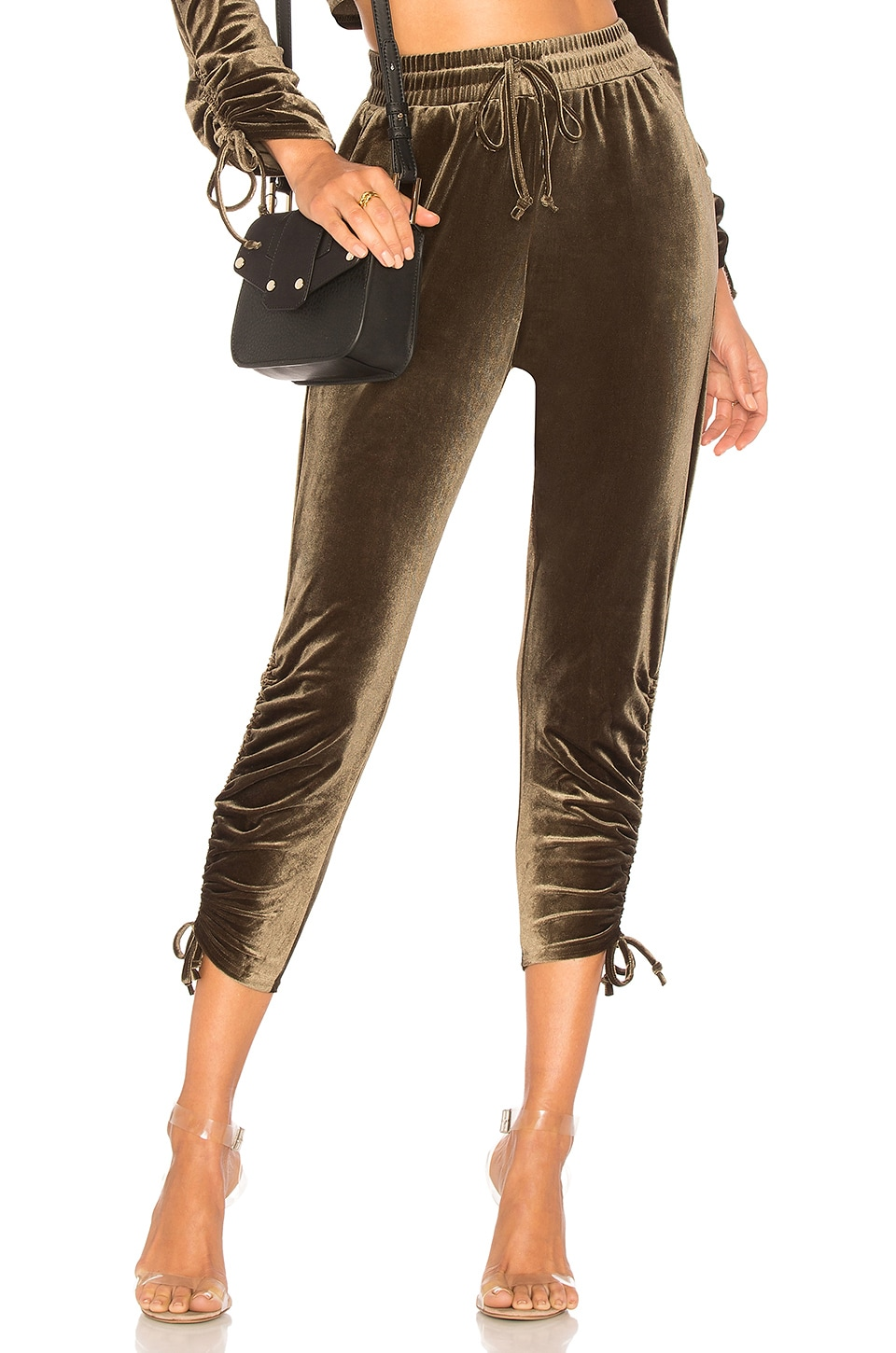 by the way. Behati Ruched Velour Jogger in Olive