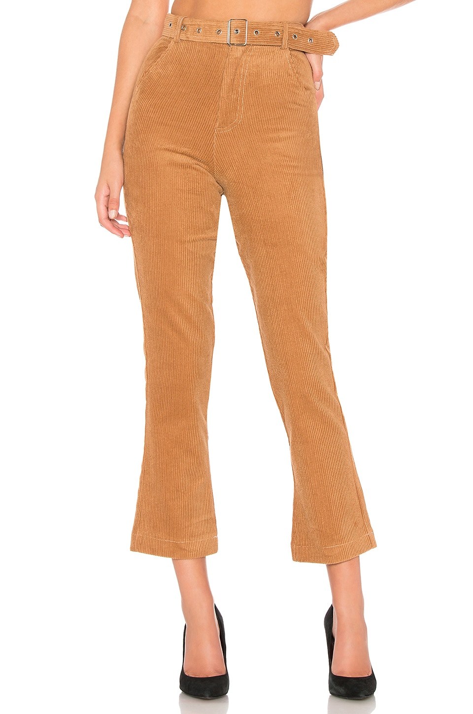 by the way. Rilee Belted Corduroy Pants in Camel Brown