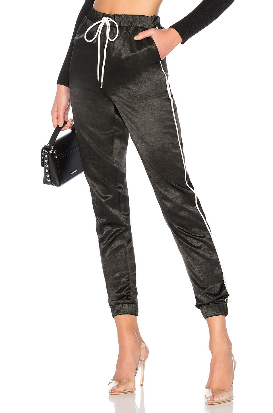 by the way. Jimena Contrast Piping Pants in Black