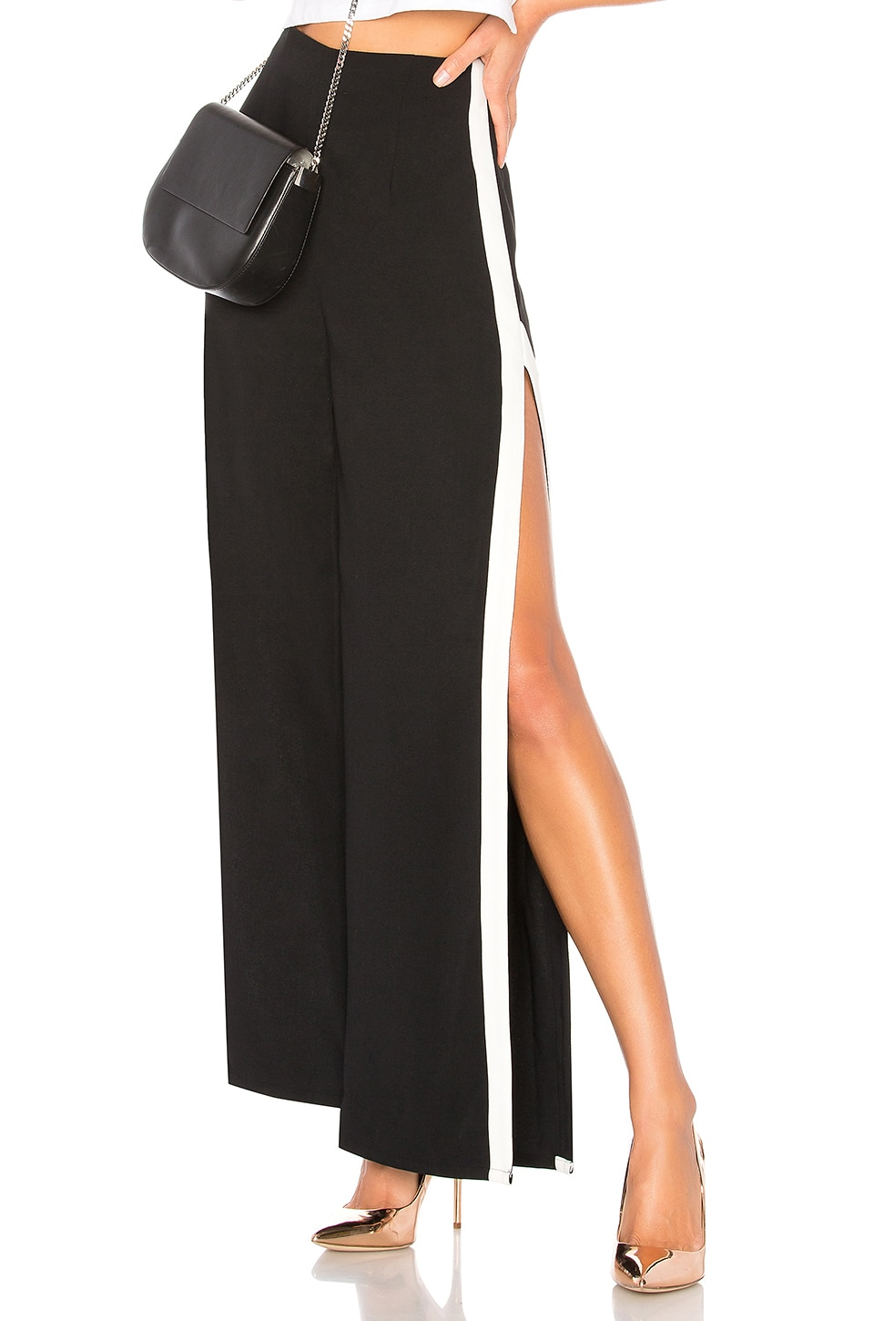by the way. Deborah High Slit Track Pant in Black & White