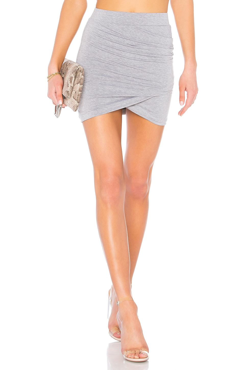 by the way. Arden Ruched Mini Skirt in Heather Grey