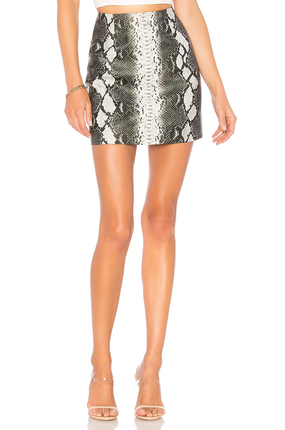 by the way. Cassandra Snake Mini Skirt in Grey Multi