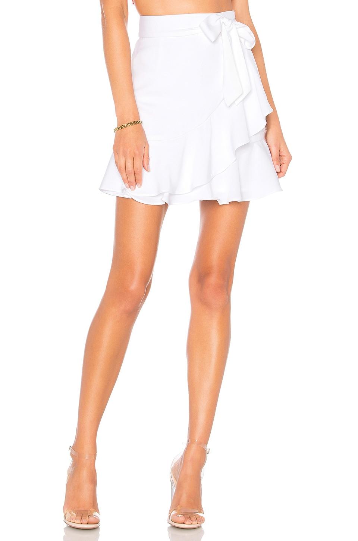 superdown Patricia Ruffle Wrap Skirt in White