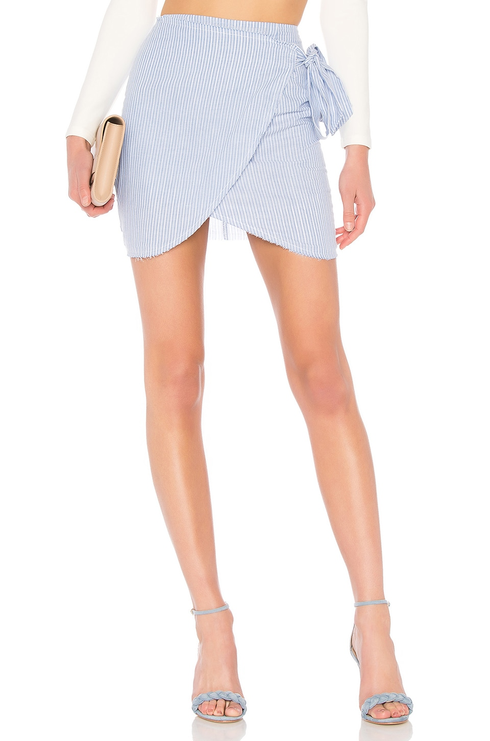 by the way. Wendy Wrap Skirt in Blue & White