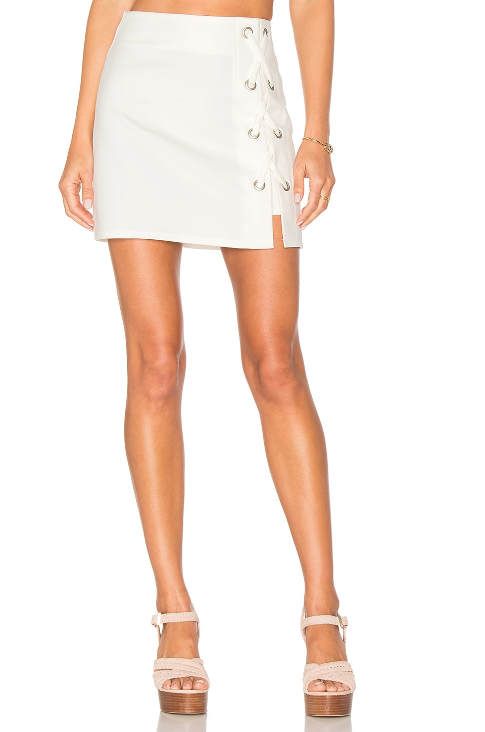 by the way. Tori Lace Up Skirt in Ivory
