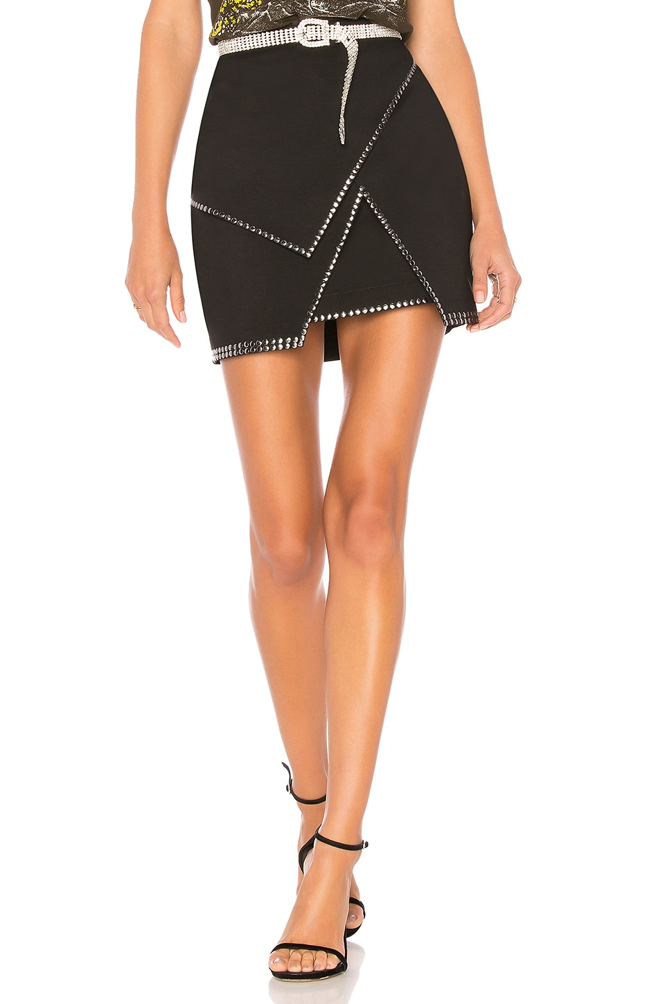 superdown Carly Studded Mini Skirt in Black