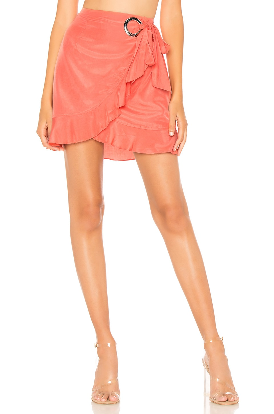 by the way. Annina Ruffle Tie Midi Skirt in Orange