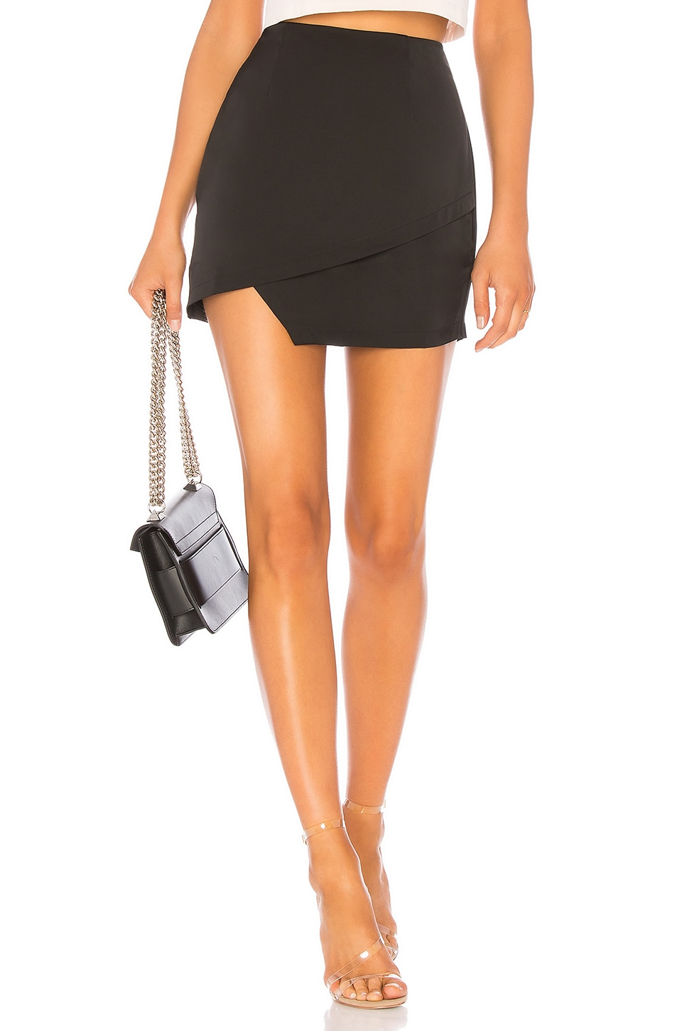 superdown Saira Satin Mini Skirt in Black