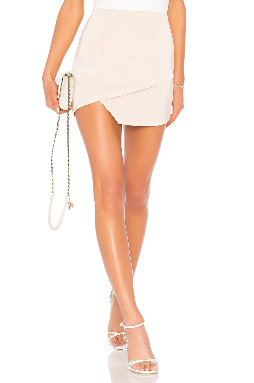 superdown Saira Satin Mini Skirt in Nude