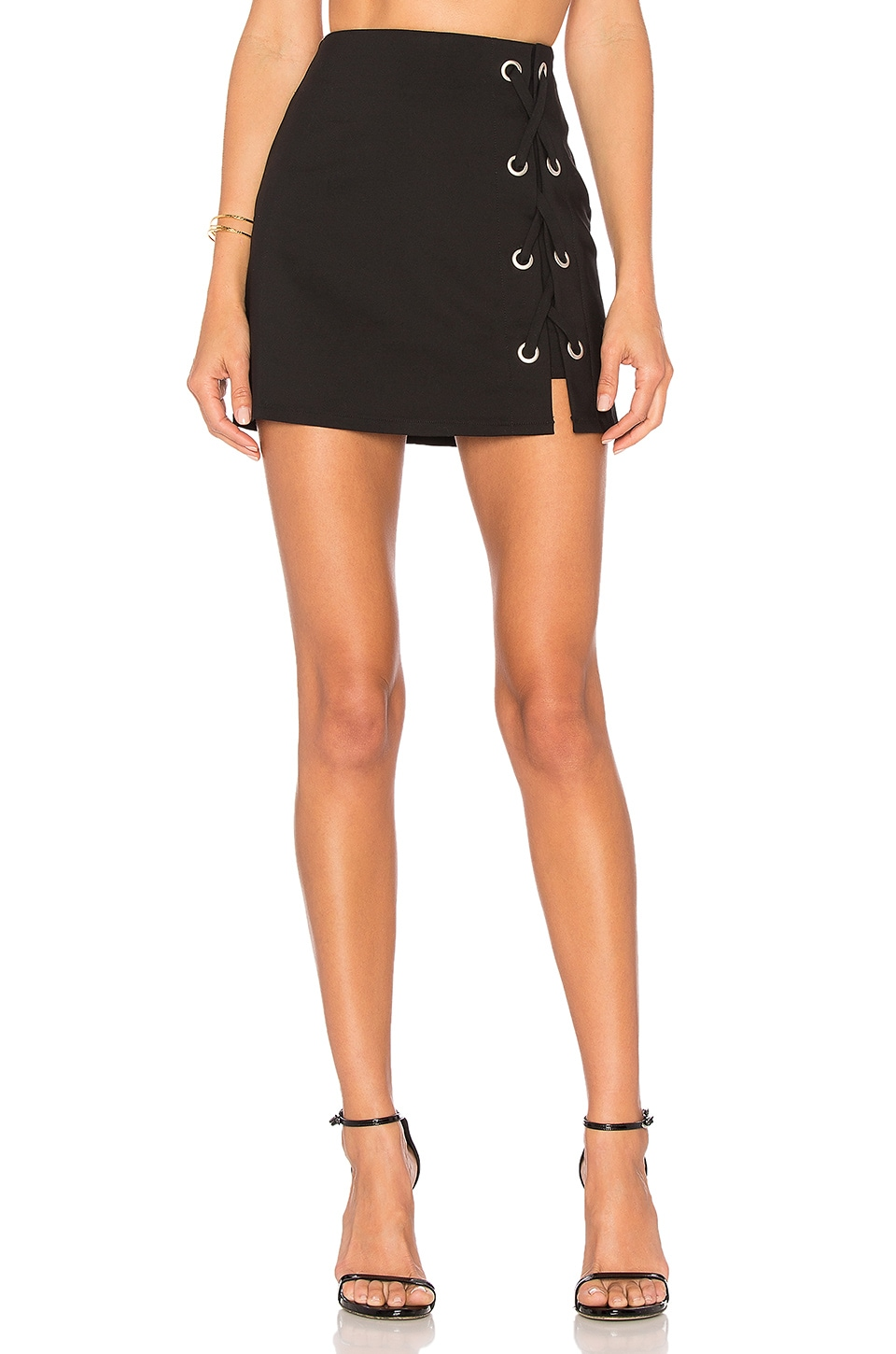 by the way. Tori Lace Up Skirt in Black