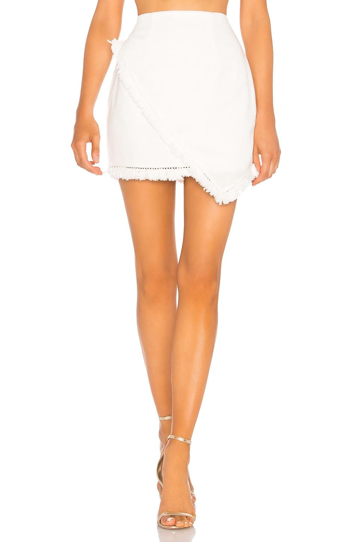superdown Savana Frayed Hem Skirt in White