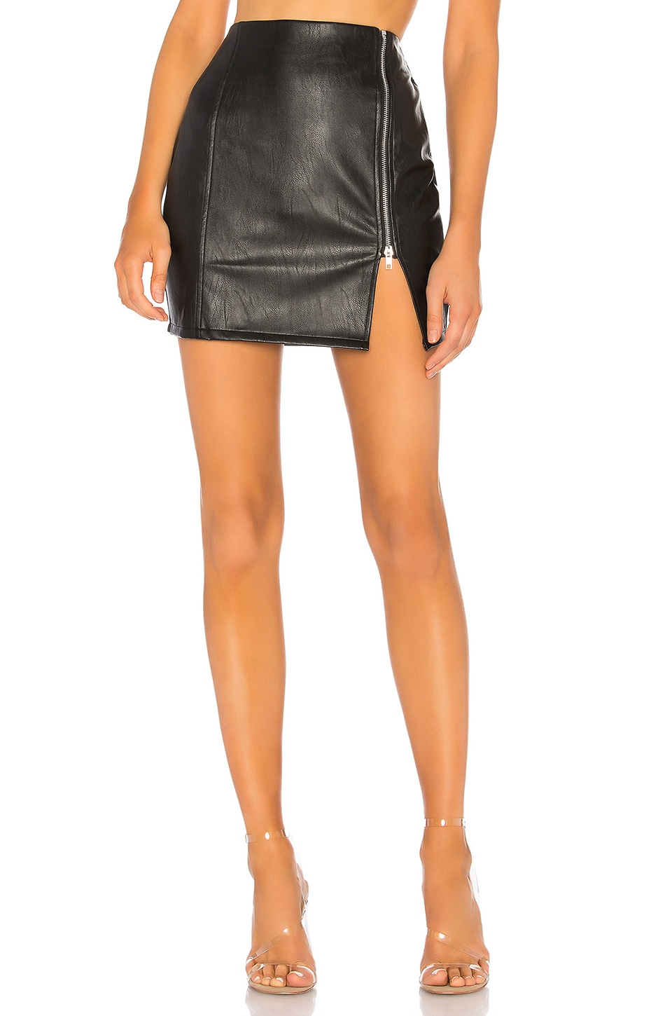 Melissa Zip Up Faux Leather Mini Skirt