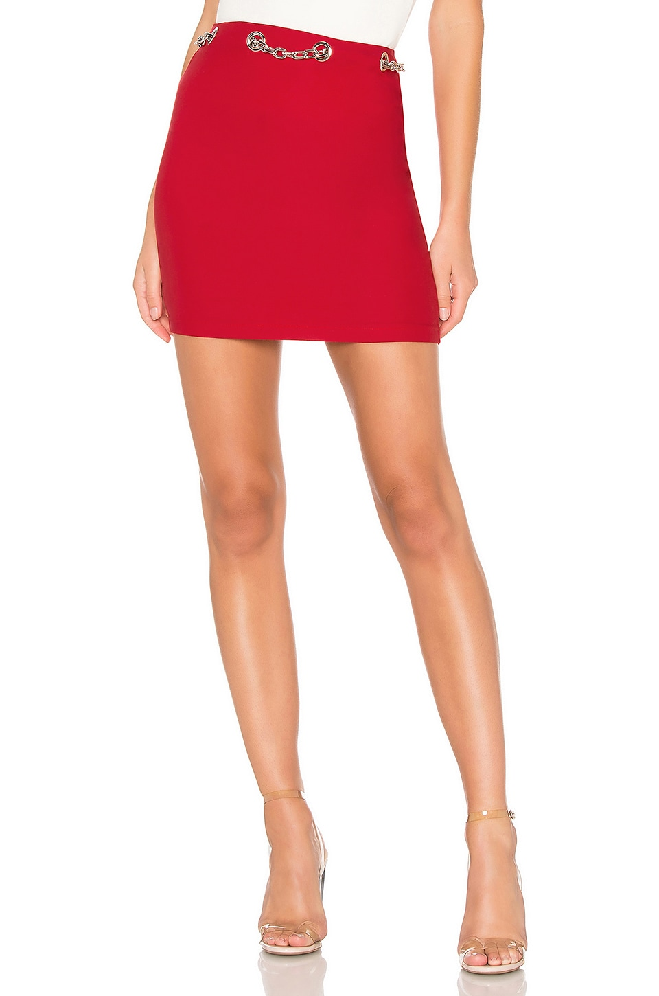 by the way. Charlotte Chain Link Mini Skirt in Red