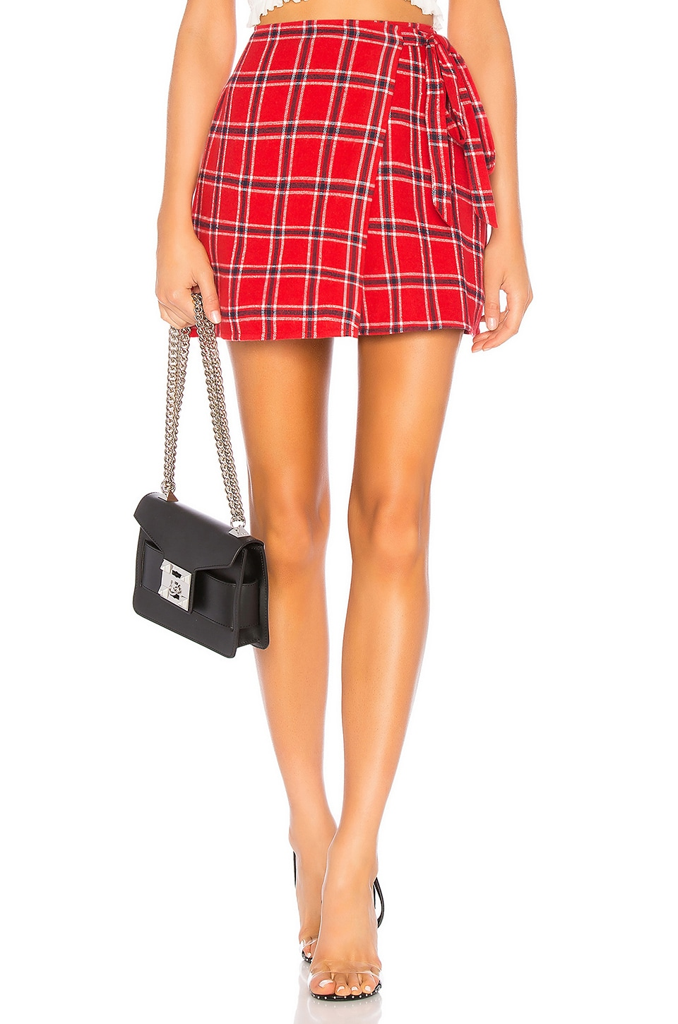 by the way. Farah Wrap Skirt in Red Plaid
