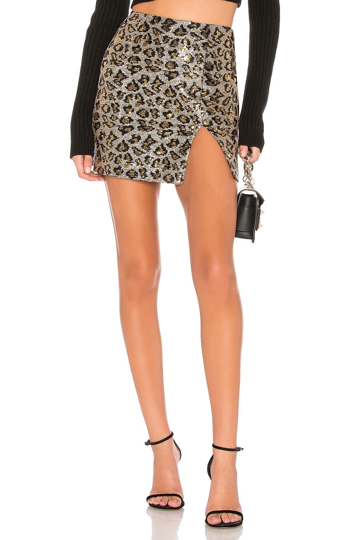 superdown Travie Sequin Mini Skirt in Leopard Sequin