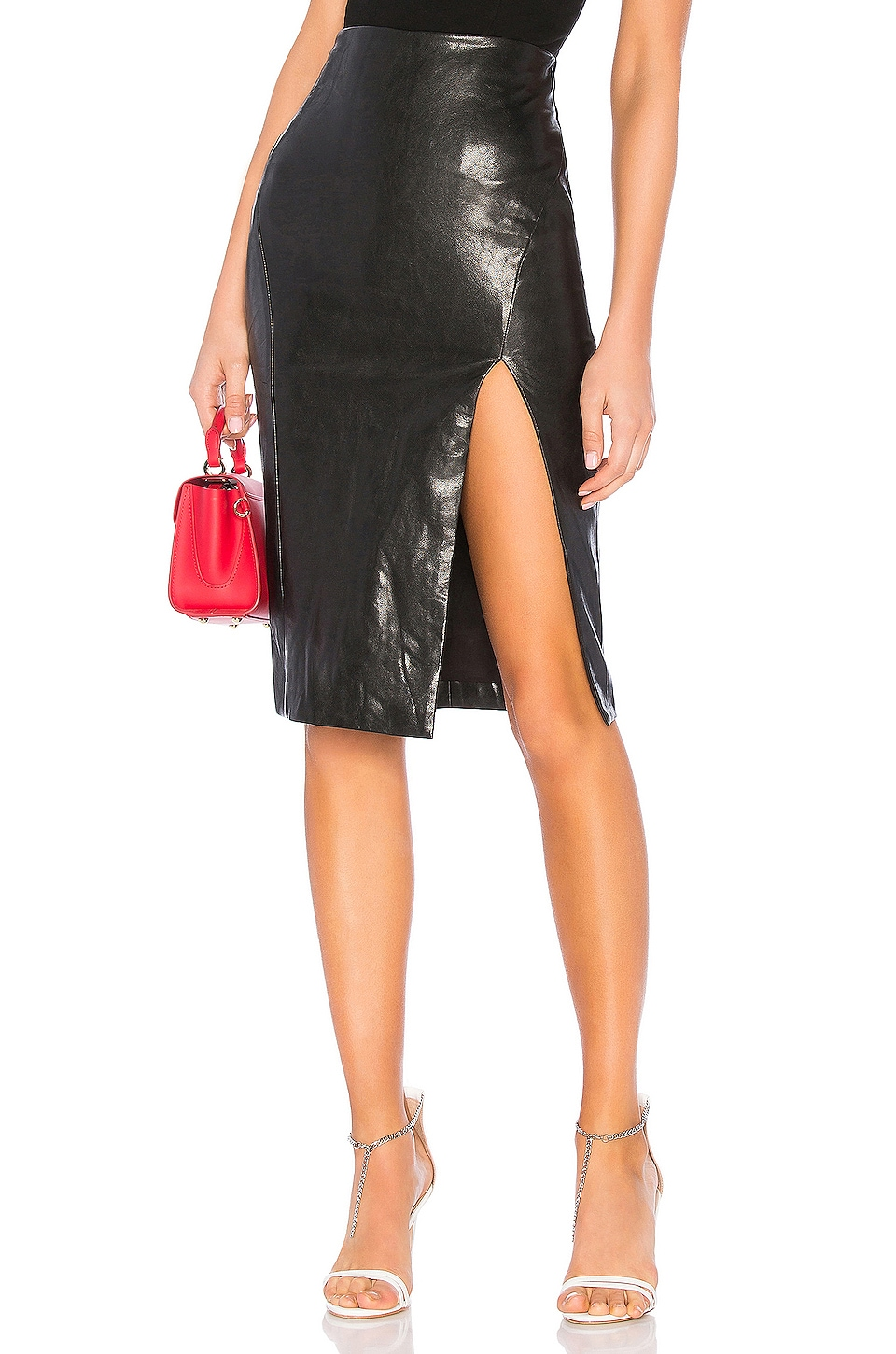 superdown Jezabel Faux Leather Midi Skirt in Black