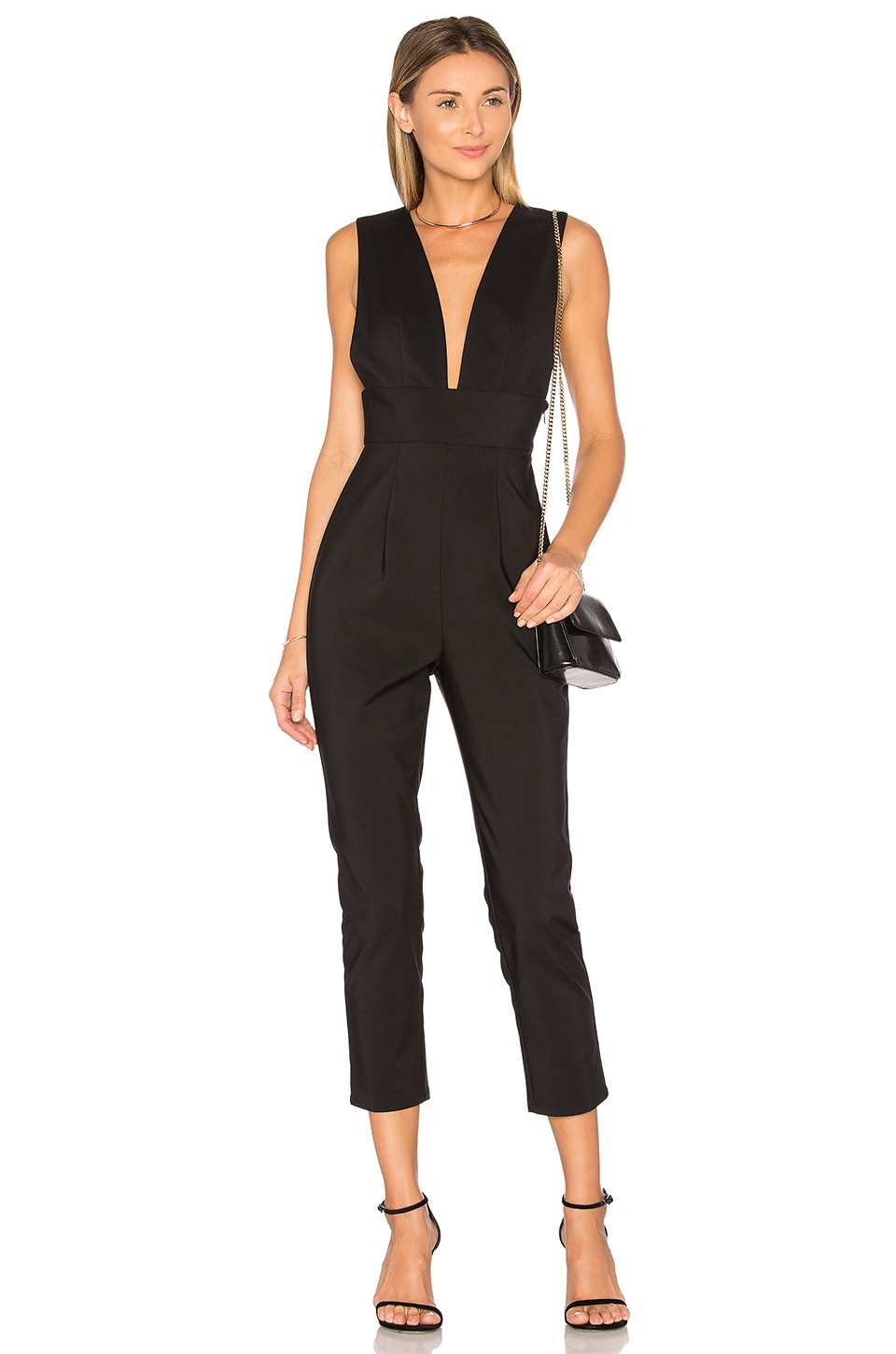 by the way. Gloria Deep V Jumpsuit in Black