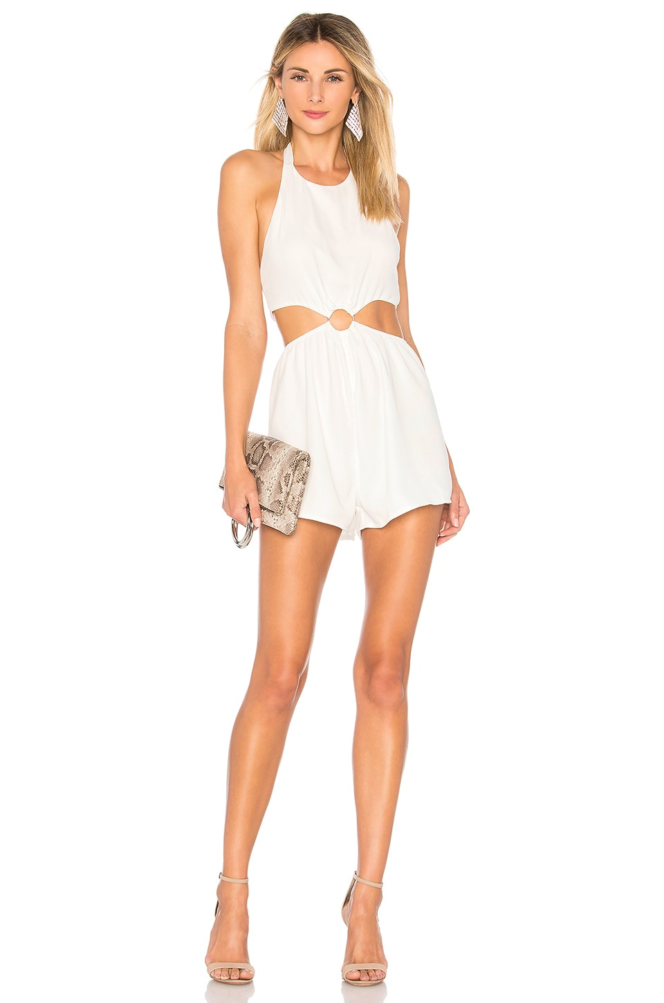 by the way. Eliana O Ring Cut Out Romper in White