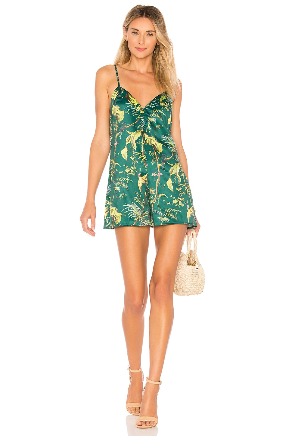 superdown Frankie Tropical Romper in Green