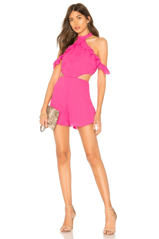 superdown Tobi Ruffle Romper in Hot Pink