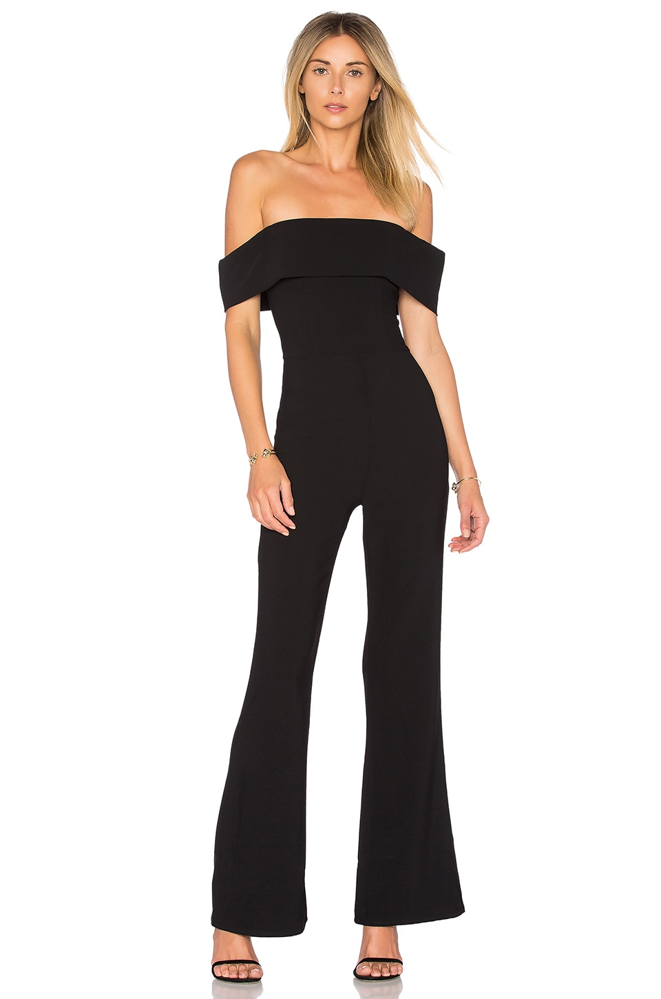 by the way. Aubrey Off Shoulder Jumpsuit in Black