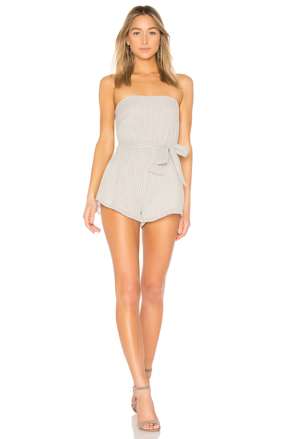 superdown Helena Stripe Tube Romper in White & Grey