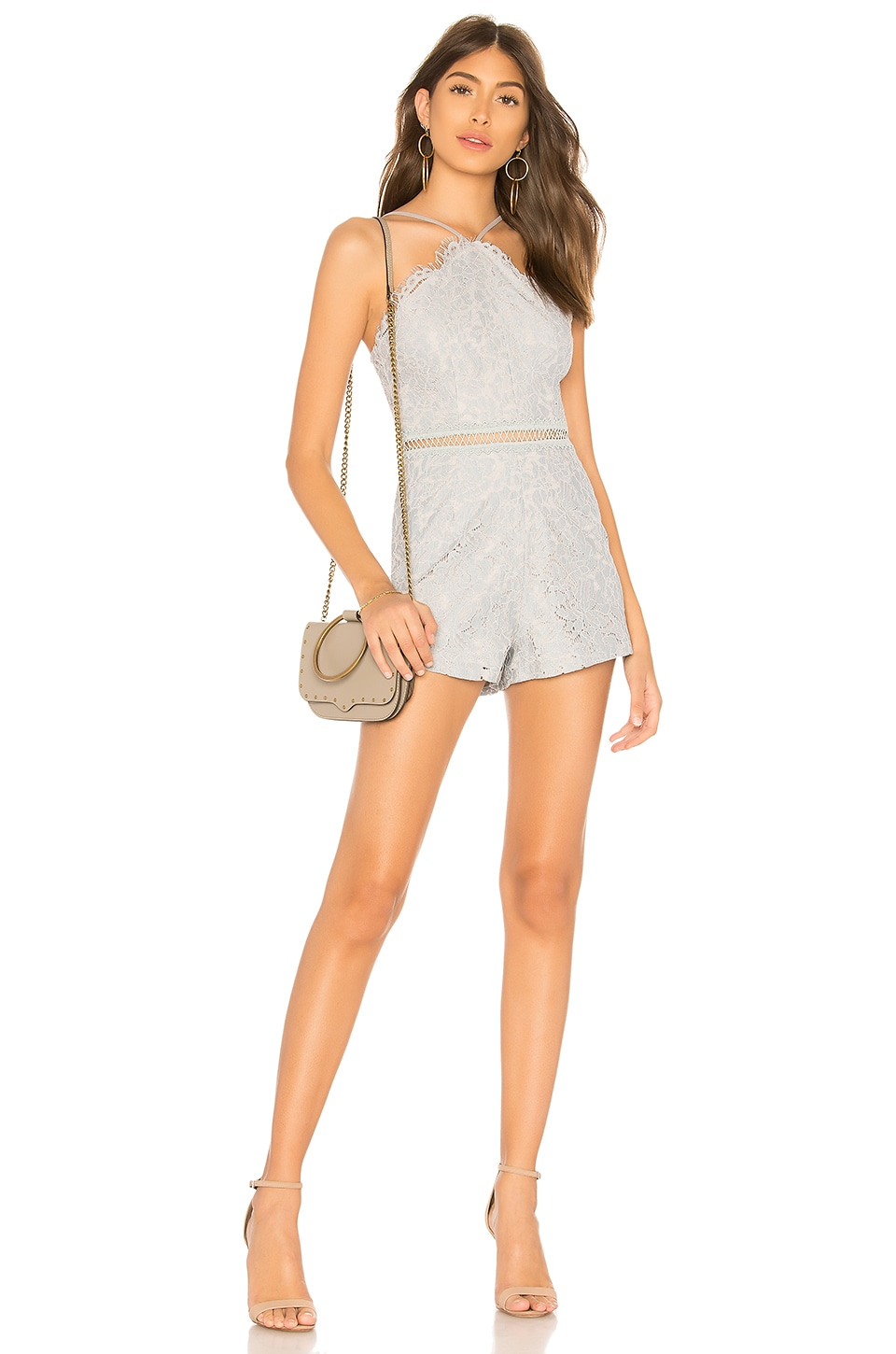 by the way. Liv Lace Romper in Light Blue