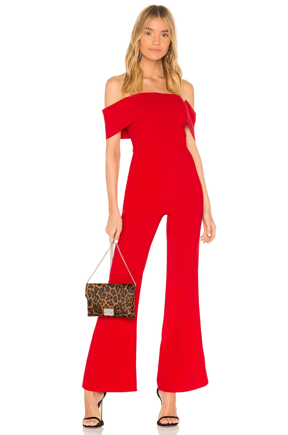 superdown Aubrey Off Shoulder Jumpsuit in Red