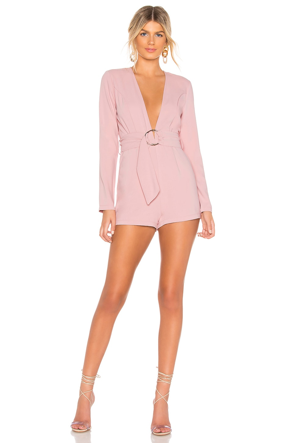 by the way. Brianna O Ring Belted Romper in Mauve